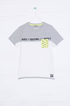 Printed T-shirt in 100% cotton, White/Grey, hi-res