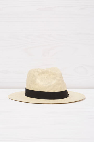 Straw hat with bow, Beige, hi-res