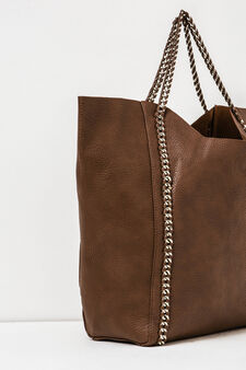 Solid colour handbag with chain, Mud Brown, hi-res