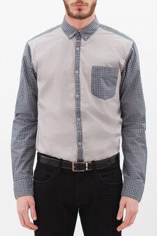 Camicia cotone fantasia quadri, Grigio, hi-res