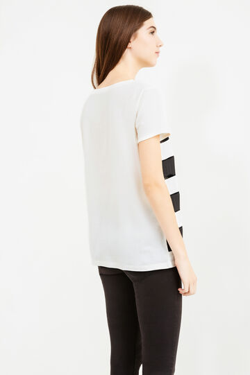 T-shirt a righe con inserti traforati, Naturale, hi-res