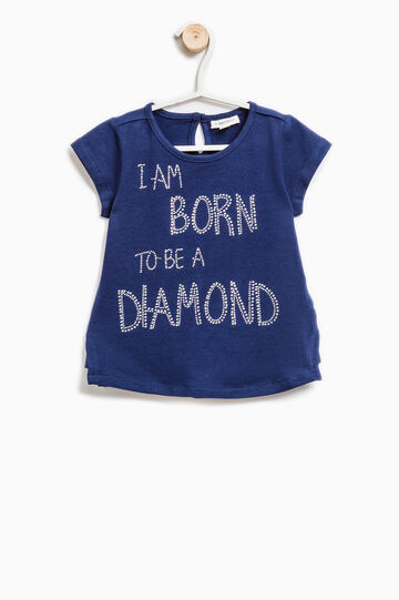 T-shirt with printed lettering and diamantés, Cornflower Blue, hi-res