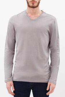 Long-sleeved T-shirt with V neck, Light Grey, hi-res