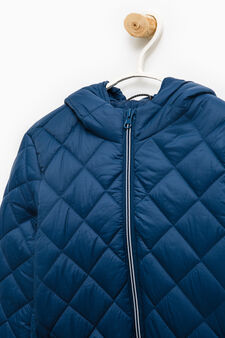 Quilted jacket with hood, Navy Blue, hi-res