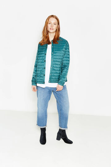 Curvy down jacket with snap buttons, Teal Green, hi-res