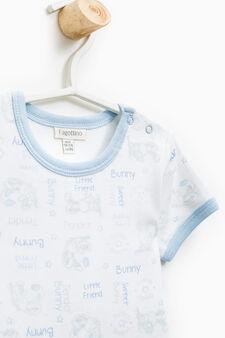 Set due t-shirt intime puro cotone, Bianco/Azzurro, hi-res