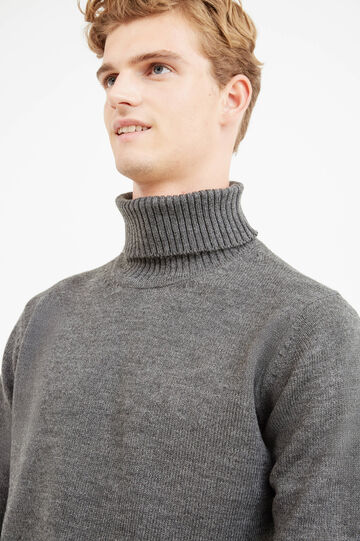 Solid colour pullover with high neck, Grey, hi-res