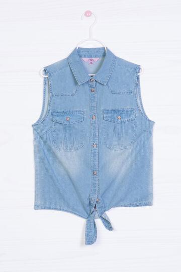 Camicia di jeans smanicata a pois