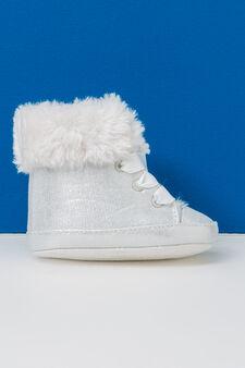 Solid colour, faux fur sneakers, White, hi-res