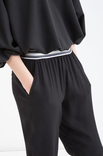 Solid colour 100% viscose trousers, Black, hi-res