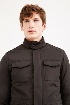 Solid colour jacket with pockets, Black, hi-res