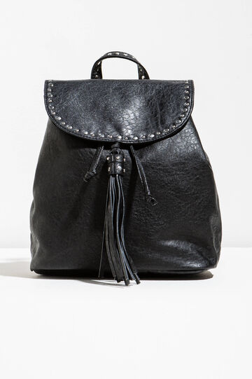 Backpack with studs and tassel, Black, hi-res
