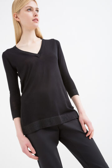 100% viscose pullover with lurex, Black, hi-res