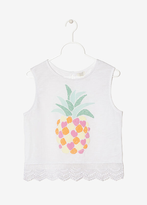 Vest top with print and lace | OVS
