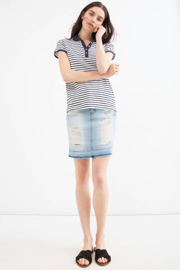 Striped polo shirt in 100% cotton, White/Blue, hi-res
