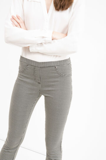 High waist trousers with all-over print, White, hi-res