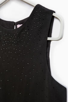 Viscose blend top with diamanté motif, Black, hi-res