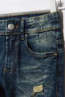 Jeans slim fit con strappi Blue Black, Blu, hi-res