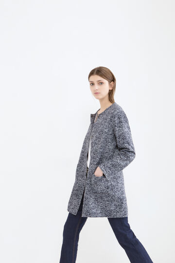 Mélange coat with raw edge hems, Navy Blue, hi-res