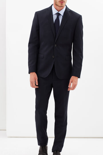 Regular-fit elegant suit with geometric pattern, Blue, hi-res