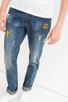 Jeans straight used con abrasioni, Denim, hi-res