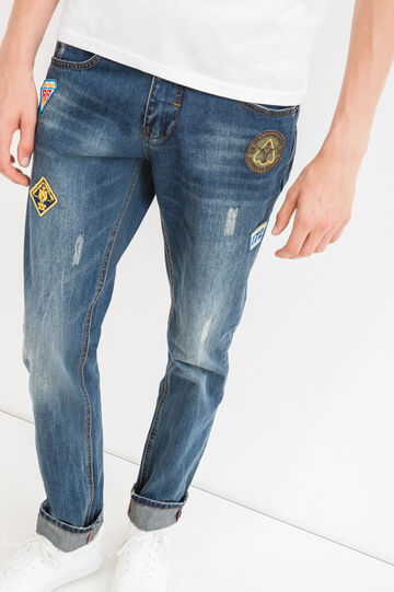 Straight-cut worn-effect jeans with abrasions, Denim, hi-res
