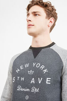 Cotton blend sweatshirt with printed lettering, Dark Grey, hi-res