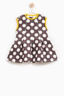 Sleeveless polka dot dress, Dark Grey, hi-res