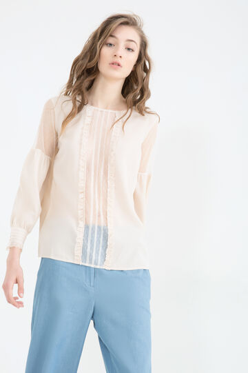 Semi-sheer lace blouse, Pink, hi-res