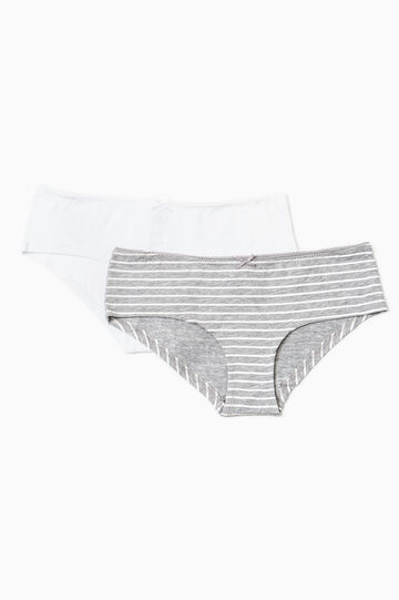 Two-pack stretch cotton French knickers, White/Grey, hi-res