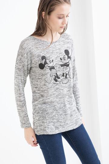 T-shirt misto viscosa con stampa, Grigio melange, hi-res