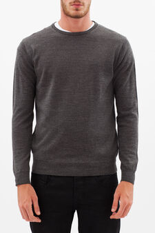 Pullover with round neck, Dark Grey, hi-res