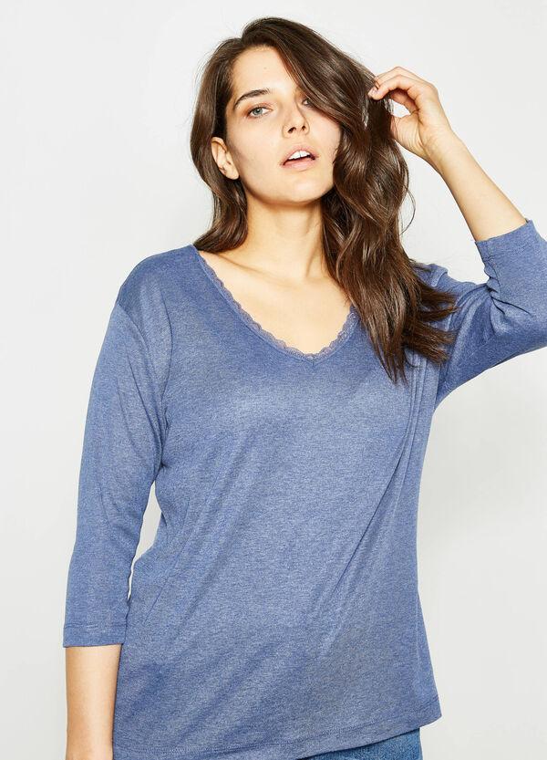 T-shirt scollo a V con pizzo Curvy | OVS