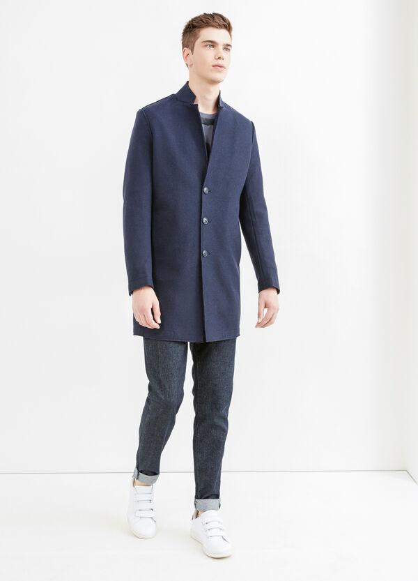 Solid colour wool blend coat   OVS