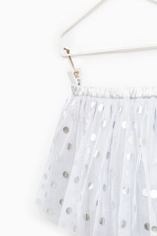 Tulle skirt with polka dot print., Grey/Silver, hi-res