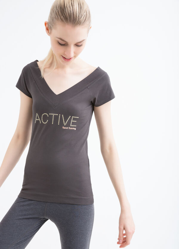 V-neck stretch gym T-shirt | OVS