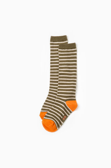 Two-pair pack long socks with stripes and check pattern, Multicolour, hi-res