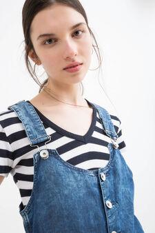 Salopette di jeans maltinto, Blu denim, hi-res