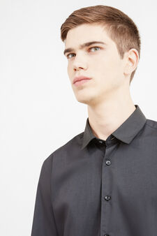 Camicia casual misto cotone tinta unita, Nero, hi-res