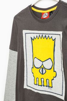 Cotton T-shirt with The Simpsons patch, Slate Grey, hi-res