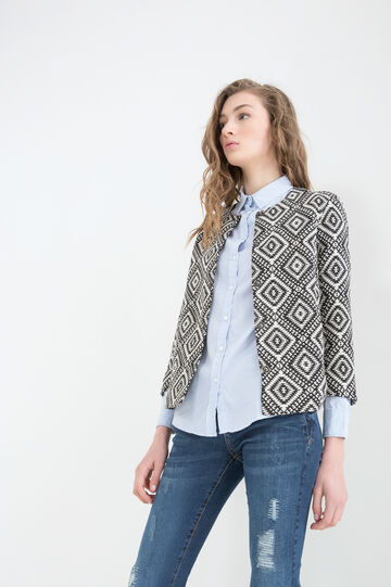 Patterned jacket in 100% cotton, Black/White, hi-res