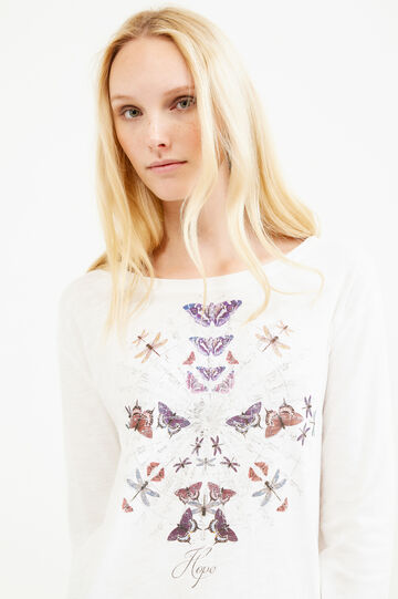 Printed T-shirt with rounded hem, Milky White, hi-res