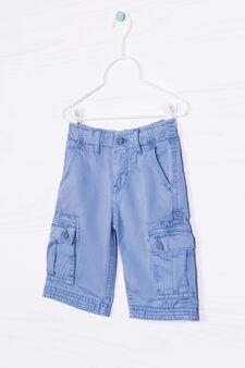 Solid colour 100% cotton Bermuda cargo shorts, Deep Blue, hi-res
