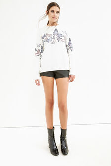 Striped jacquard sweatshirt with butterfly print, Milky White, hi-res