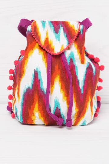Patterned cotton backpack, Multicolour, hi-res