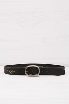 Leather look belt with engraving and studs, Black, hi-res
