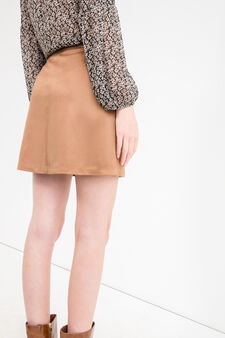 High-waisted skirt with suede effect, Cognac Brown, hi-res