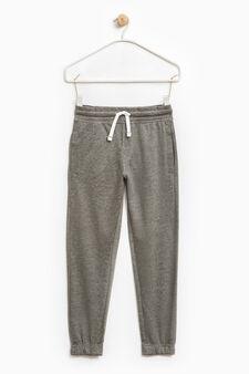Pantaloni tuta puro cotone con tasche, Grigio melange, hi-res