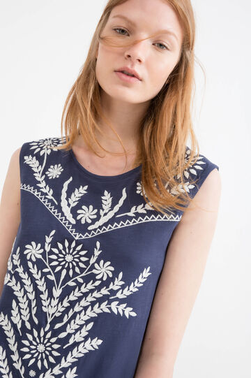 Sleeveless cotton printed T-shirt, Navy Blue, hi-res