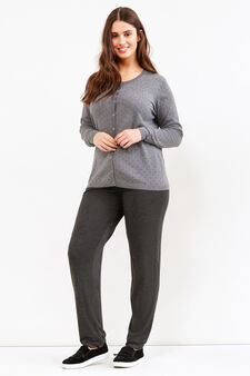 Curvy patterned cardigan in 100% cotton, Grey Marl, hi-res